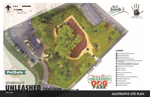 Aerial illustrative site plan of the City of Sevierville's Unleashed PetSafe Dog Park